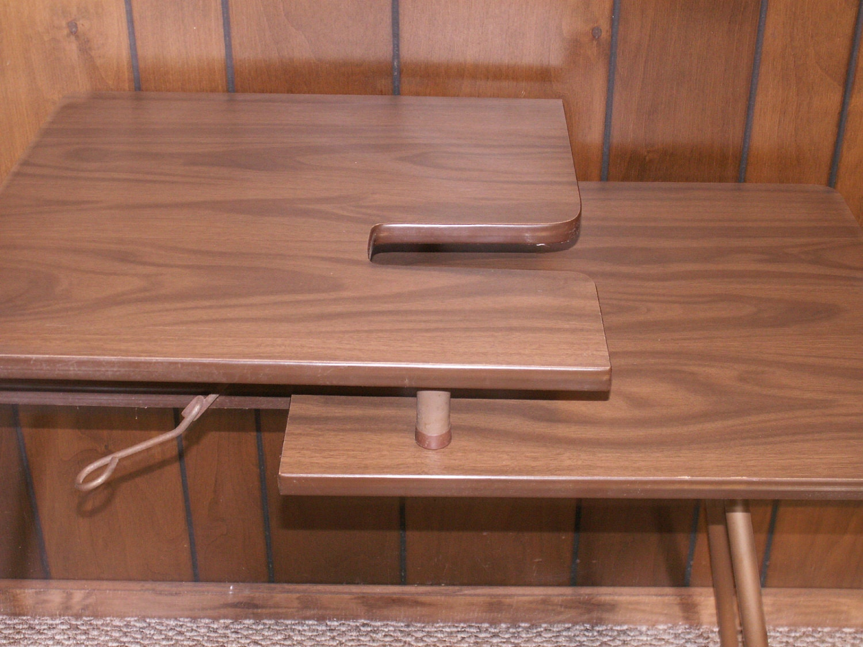 Vintage Wood Sewing Table With Folding Metal Legs Sirco Mfg