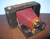 Antique Kodak No. 3 Model A Folding Brownie Camera With Red Bellows