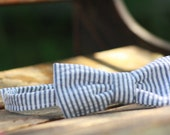 Boys Seersucker Bow Tie  Available in Navy, yellow, red or baby blue Velcro Or Clip Closure