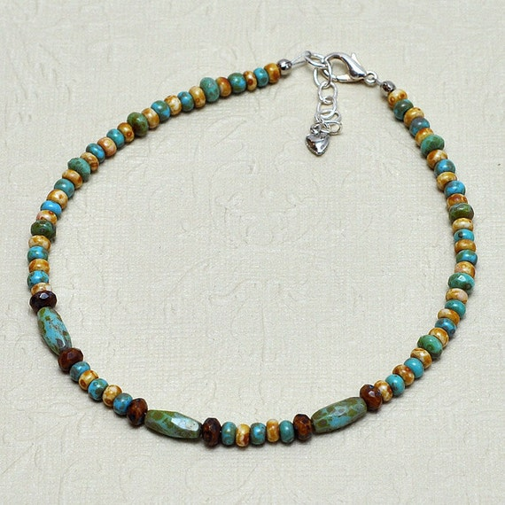 Southwest - Turquoise Blue - Brown - Beaded Anklet