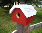 Wooden handmade painted birdhouse PRICE INCLUDES SHIPPING