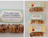 INSTANT Download-NO Graphic-One Smart Cookie Treat Bag Tags - Printable PDF