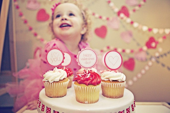 INSTANT Download-Valentines Day Collection-Cupcake Toppers:PINKS-Printable PDF