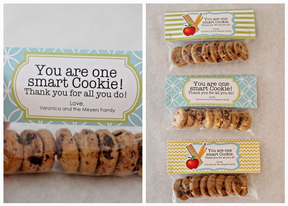 INSTANT Download-Teacher Gift: One Smart Cookie Treat Bag Tags - Printable PDF