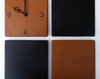 Leather Panels clock set