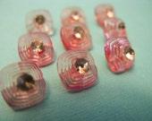 Pretty In Pink Square 1950s Rhinestone Buttons.