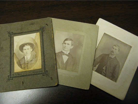 Reserved for LEIGH JANE   Trio Of Victorian Gentlemen. Cabinet Cards From 1800s.
