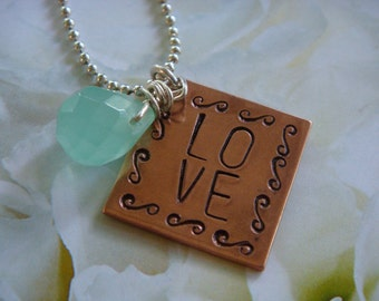 LOVE Square Copper and Sterling Silver Necklace with Aqua Crystal