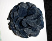 AWESOME Jean DENIM FLOWER matches anything--Handmade with a clip to attach to Interchangeable headbands