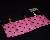 Pink, black, flowers, zebra and polka dot crayon roll pencil roll brush holder