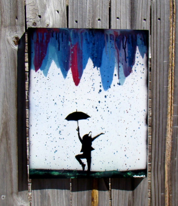 Modern Abstract Silhouette Painting Dancing In The Rain