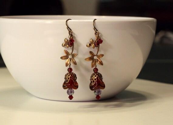 Black Friday SALE Rustic Brass and Maroon Flower Dangle Earrings