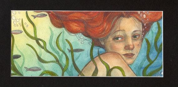Sweet Mermaid...Original Watercolor Art