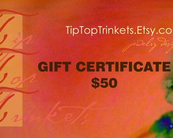 Gift Certificate for 50 Dollars