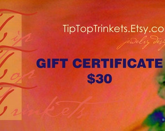 Gift Certificate for 30 Dollars