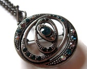 Crystal Cosmic Rings Space Science Pendant In Antique Silver Necklace