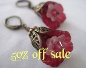 Fifty Percent Off Sale - Antiqued Bronze Earrings With Wine Burgundy Lucite Flowers
