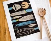 linocut, Slow Food, chef, kitchen, utensils, blue, beige, black, snail, printmaking, kitchen art, chef, cooking, home interior, food, spring
