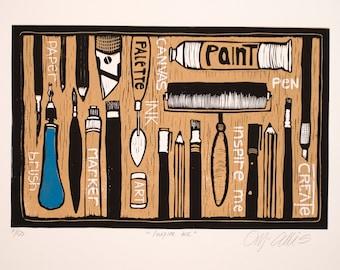 linocut, Inspire Me, black, yellow, ochre, creative people, inspirational art, work shop decoration, printmaking, artist, painter, sculptor