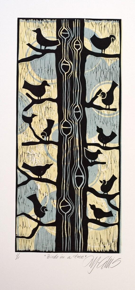Birds in a Tree, a color linocut by Mariann Johansen-Ellis