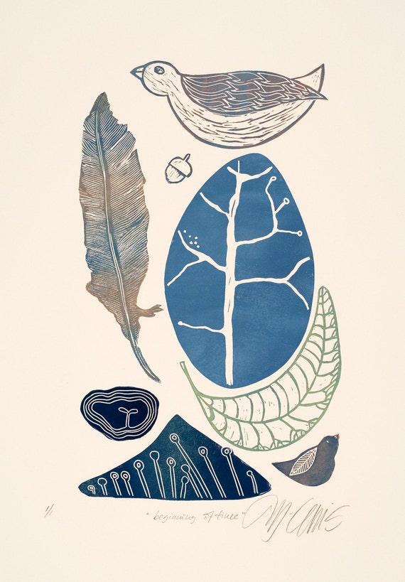Beginning of Time, a handpulled color linocut by Mariann Johansen-Ellis