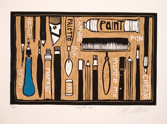 sale - linocut, Inspire Me, black, yellow, ochre, creative people, inspirational art, printmaking, artist, painter, sculptor, studio art