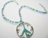 Peace Necklace Blue Azure Teal
