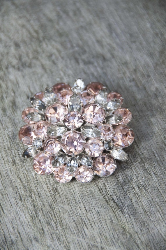 Eisenberg Rhinestone Brooch Sweet Pink and Clear Gorgeous as-is