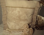 WINTER SALE Hand made French Inspired Burlap French Toile Pillow Provence Pastoral
