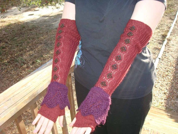 Handknit Beaded Opera Length Sleeves with Lace Frill - SALE