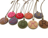 Custom Initial Monogram Hand Embroidered Statement Necklace