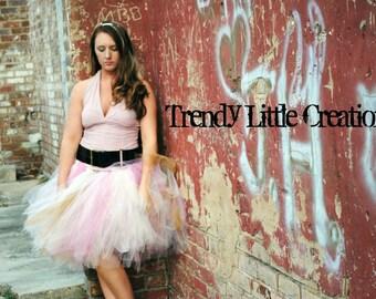 Trendy ladies Tutu - Teen Tutu - Tween tutu - SEWN tutu- ivory, gold, and pinks