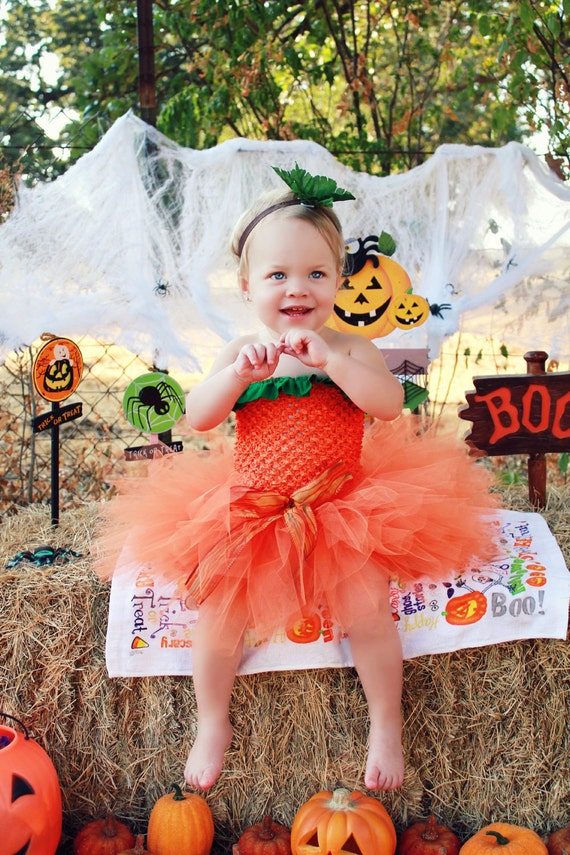 Trendy LiL Pumpkin Costume - SEWN  tutu set - tutu, orange and green ruffle tube top, leaf headband