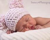 Baby Girl Hat - Baby Pom Pom Beanie - Newborn Crochet Baby Hat - 0-3 Months