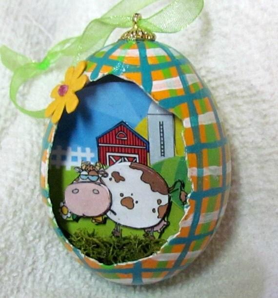 Egg, Chicken Egg, 3D, Easter, Mavis the Cow Eggcettera- Real chicken egg with cute 3D scene inside
