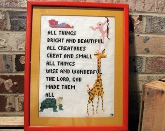 vintage cross stitch --  matted and framed