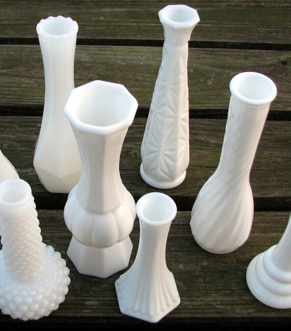 nine vintage milk glass vases