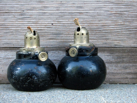 vintage steel oil lamps -- set of two -- industrial chic for your home