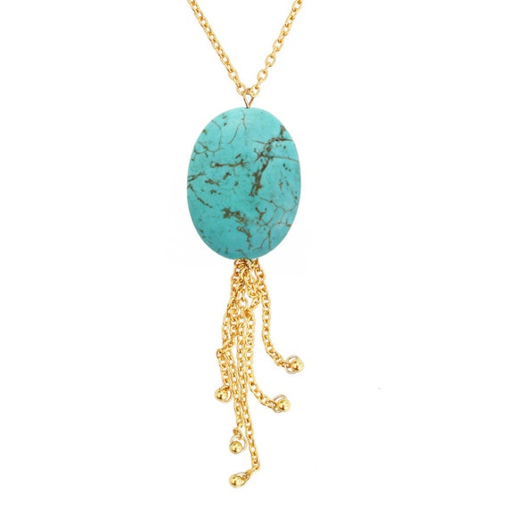 Long Turquoise Necklace - Silver or Gold