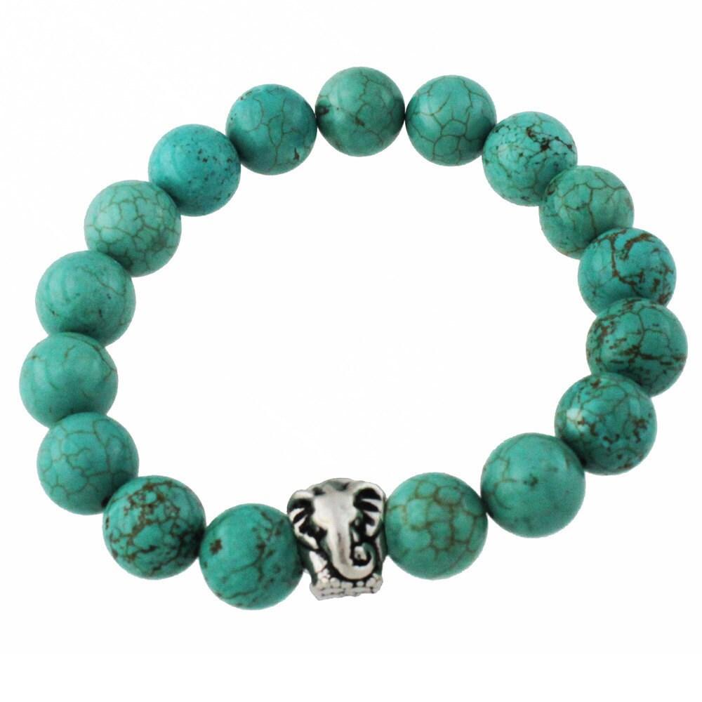 elephant bracelet turquoise stone beaded. Black Bedroom Furniture Sets. Home Design Ideas