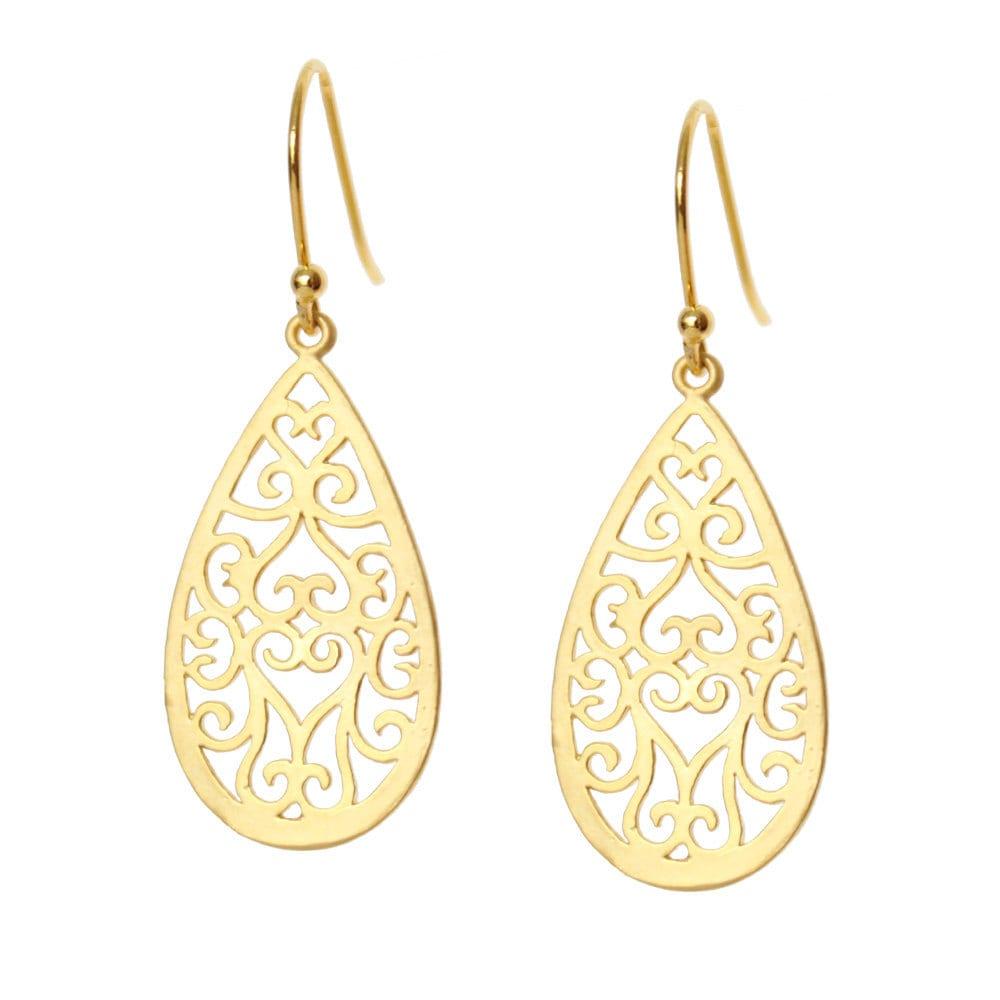 gold teardrop earrings hearts on gold filigree