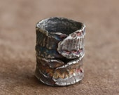 SALE...Desert Fossil Hybrid Sterling Silver Stacked Wide Band Rings