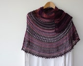 Purple Plum - lace semi circular shawl in shades of purple and dusty pink