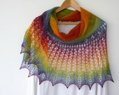 My Rainbow - hand knitted lace shawl, semi circular with decorative edging