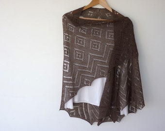 Triangular hand knitted lace shawl in brown merino cashmere