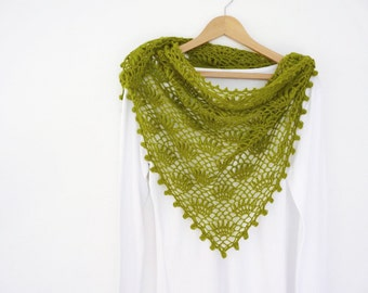 Lime green shawl hand crocheted with decorative puff edging