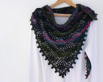 Gypsy shawl hand crocheted with decorative puff edging in blue pink green