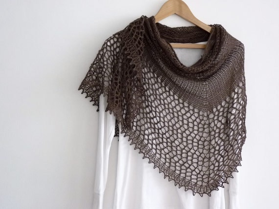 Chocolate brown lace shawl half circle with crocheted picot edge in cashmere merino yarn
