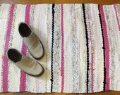 SALE Woven Rag Rug - Pale Yellow, Pink, Black, Floral