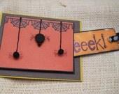 Blank Handmade Halloween Card - Eeek Hanging Spiders - READY TO SHIP